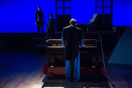 Mark Staley (George) at the deconstructed piano with Kaitlin Dann and Liz Chang in the