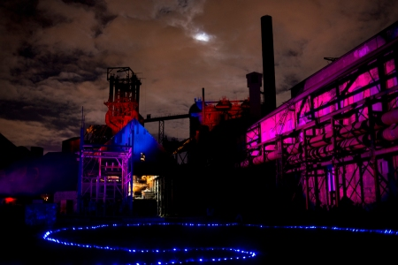 Carrie #6, the Cast House and Blowing Engine House at night.