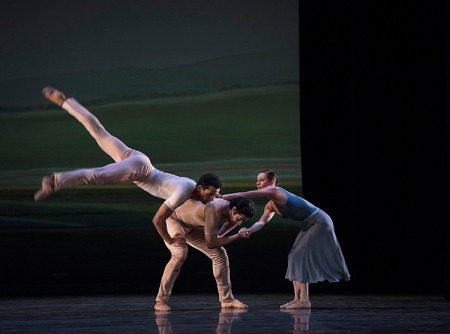 Pittsburgh Ballet Theatre's Corey Bourbonniere, Alexandre Silve and Gabrielle Thrulow perform Sinfonietta. Photo: Martha Rial©