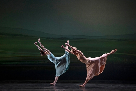 Pittsburgh Ballet Theatre's Jessica McCann and Joanna Schmidt perform Sinfonietta. Photo: Martha Rial©