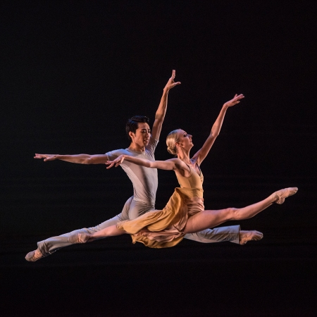 Pittsburgh Ballet Theatre's Yoshiaki Nakano and Hannah Carter perform Sinfonietta. Photo: Martha Rial©