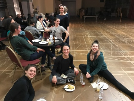Enjoying the after-preview festivities are dancers Sarah Zielinski, Sonja Gable and Chelsea Neiss. At the table are choreographer Helen Simoneau and, standing behind, Attack co-founder Michele de la Reza.