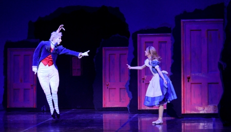 Yoshiaki Nakano (White Rabbit) and Amanda Cochrane (Alice) interact in the Hallway of Doors.
